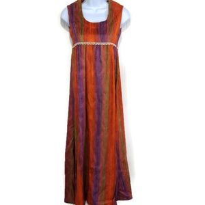 Vintage XXS Maxi Flocked Striped Dress